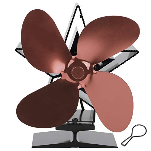 Ventilador accionado por calor Ventilador de estufa de leña Ventilador de calor para chimenea autoamplificado para distribución de calor Sala de estar Hogar(Bronze)