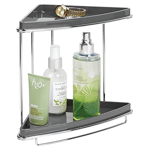 mDesign Baldas para baño en esquina – Organizador para baño con pie y dos niveles para guardar champú, gel, toallas y más – Estanterías de ducha inoxidables de metal y plástico – plateado/gris pizarra
