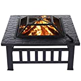 KingSo 32'' Outdoor Fire Pit Metal Square Firepit Patio Stove Wood Burning BBQ Grill Fire Pit Bowl with Spark Screen Cover, Log Grate, Poker for Backyard Garden Camping Picnic Bonfire