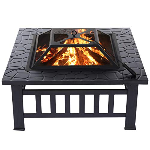 Kingso 32'' Outdoor Fire Pit w/ Mesh Spark Screen Cover $69.99
