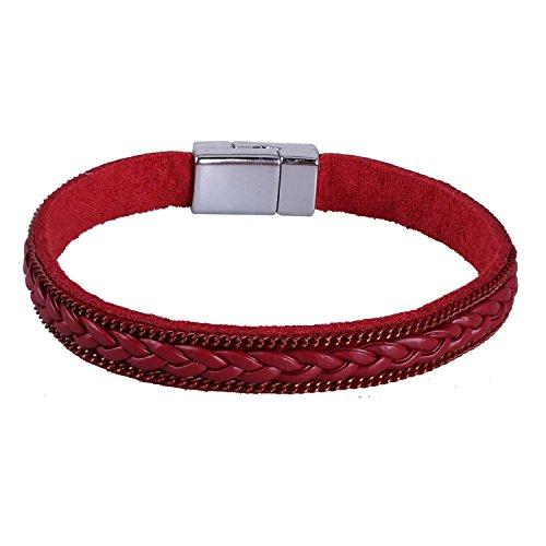 KELITCH 2 Kreis Ethno Magnetismus Knopf Khaki Leder Armband mit Blatt Quaste Anhänger