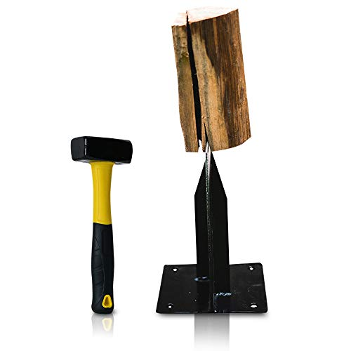 "East World Wood Splitter The Axe Wedge"" Splitting Maul for Small Firewood - Easy to Use Small Log Splitter Wedge - Manual Kindling Splitter - Solid Steel Splitting Wedge – Free 2.2Lbs Hammer"