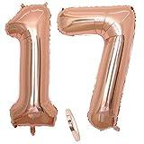 2 palloncini numero 17, number 17 palloncino oro rosa ragazza, 40