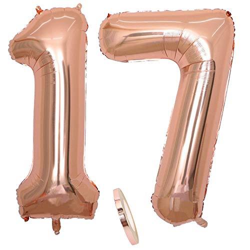 2 Luftballons Zahl 17, Nummer 17 Luftballon Rosegold Mädchen ,40
