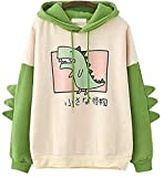 CRB Fashion Womens Teens Animal Anime Cute Emo Dinosaur Cosplay Cartoon Shirt Hoodie Hoody Top Jumper Sweater (Green)