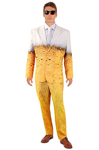 shoperama Lustiger Bier Anzug mit Krawatte Herren Kostüm Sakko Jackett Hose Karneval Party, Größe:48
