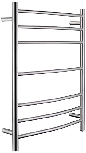 ANZZI Gown 7-Bar Wall Mounted Towel Warmer in Brushed Nickel | Energy Efficient 70W Electric Plug in Heated Towel Rack for Bathroom | Stainless Steel Towel Heater Rail Quick Towel Dryer | TW-AZ027BN