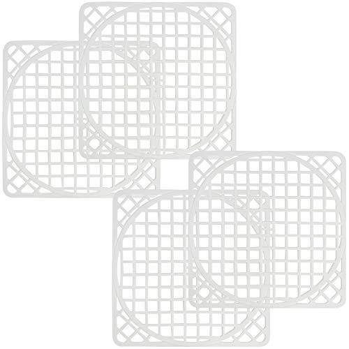 com-four® Le tapis pour évier universel 4, protège la surface de l'évier et la vaisselle, peut être coupé en rondelles (4 pièces - blanc)