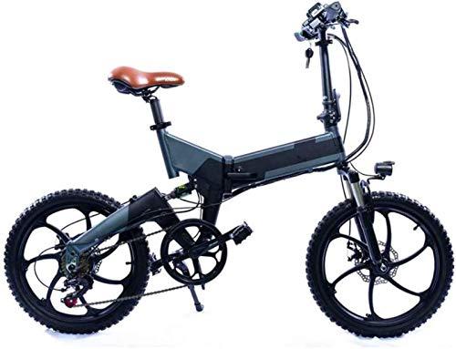 Bicicleta eléctrica de montaña plegable para adultos de 20 pulgadas, 7 velocidades con bicicleta eléctrica ABS, motor de 500 W / batería de litio de 48 V 13 Ah, ruedas integradas de aleación de magnes