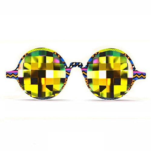 GloFX Tribal Kaleidoskop Brille - Regenbogen Bug Auge - flach zurück kaleidoskopischen Beugungseffekt