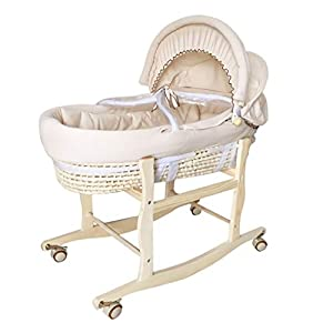 YC electronics Travel Beds Cribs&Nursery Beds Portable Baby Basket Corn Woven Baby Crib Natural Colored Cotton Sleeping Cradle for Newborns for Car Rocking Chair
