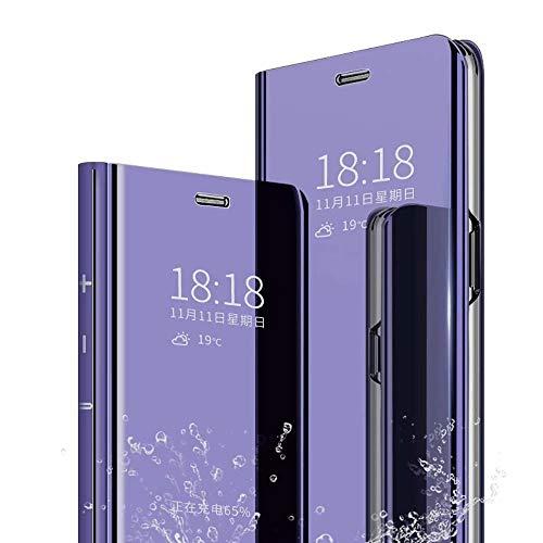 TenYll Coque pour Sony Xperia 10 II, Flip Cover, Portefeuille PU Cuir Case, Ultra-Mince Translucide Miroir Housse Etui À Rabat, Smart Case, Support Coque -Pourpre