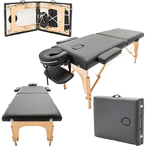 Lowest Price! Sock Folding Massage Table Professional Massage Bed 2 Fold Adjust Height Within 18.8-2...