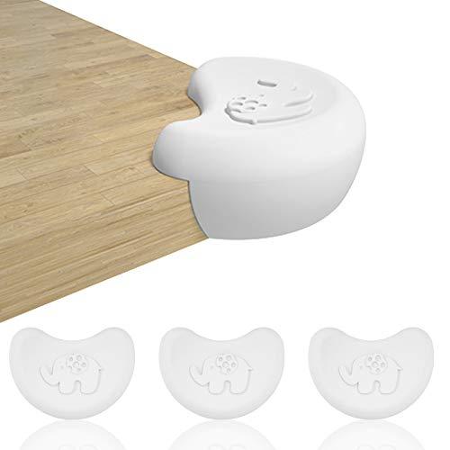 IYOYI 4 protectores de esquinas para bebés en forma de elefante, protección para los bordes de la mesa, protección contra golpes, para bebés y niños (color blanco)