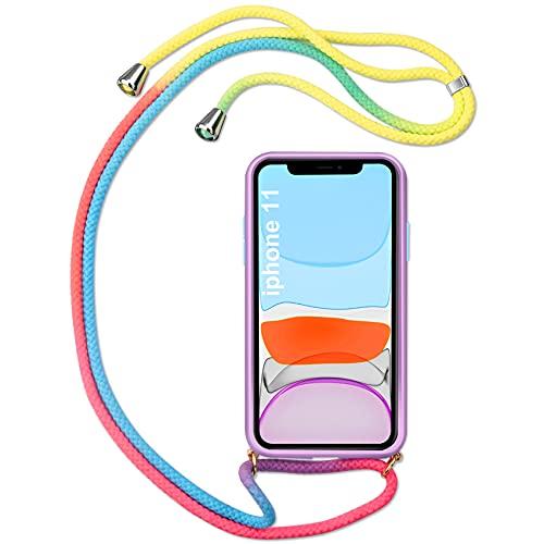R&B Adecuado para Apple iPhone 11 PC + TPU teléfono Lanyard funda con el arco iris arco de cuello cubierta cubierta adecuado para iPhone 11 (6.1)