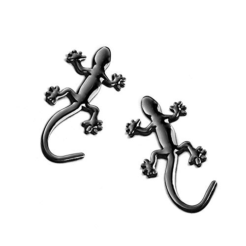 Adhesivo decorativo para coche, diseño de Gecko en 3D, 2 unidades, color negro