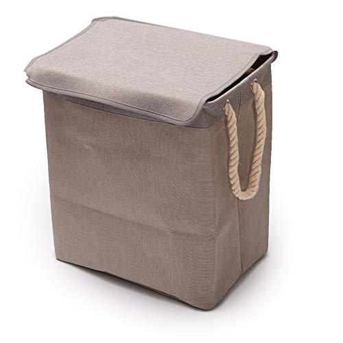 TYLINK Faltbarer Wäschekorb Große Wäschesammler wäschekörbe Zusammenklappbarer Aufbewahrungsbeutel Behälter mit Tragegriffen Leinenstoff Wäschetruhe Faltbar 65L 4 Farben Wahl für Schlafzimmer