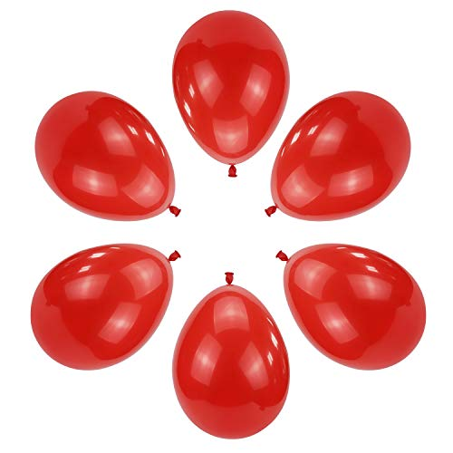 100 PCS 12 Inches Red Latex Balloons Large Thick Big Round Biodegradable Bulk Helium Gas or Air Inflated for Kids Birthday Graduation Wedding Party Halloween Christmas Decorations Supplies Favors