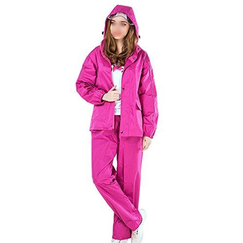 Dongyd Regenjas/Regenkleding Regenbroek Suit/Volwassen Hooded Fiets Regen Poncho/Vrouwen Dikke Broek En Jas Regenjas Set Geel, Rose Rood Kleur