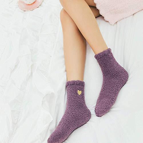 Zando Womens Fuzzy Socks Cozy Slipper Socks Super Soft Plush Socks Cute Fluffy Socks Indoor Sleep Socks Comfy Microfiber Bed Socks Warm Fuzzy Socks for Women 4 Pairs Cute Heart One Size