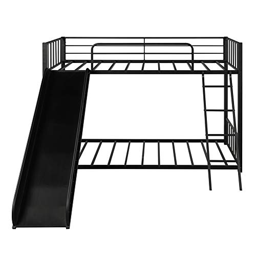 Metal Loft Bunk Bed with Slide and Ladder, Multifunctional Design, with Safety Guard Rails for Kids Teens Adults/Easy to Assemble/No Box Spring Required (Black)
