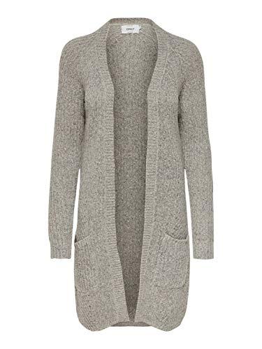 ONLY Damen 15165076 Strickjacke, Grau (Light Grey Melange Light Grey Melange), 38 (Herstellergröße: M)