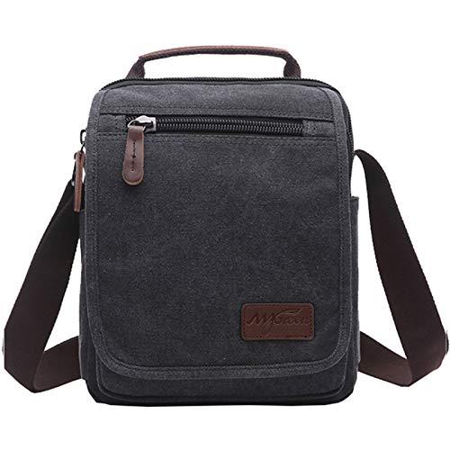 Mygreen - Bolso bandolera de lona para llevar al hombro (tamaño pequeño), MG16205BK, negro, small