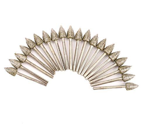 SSXPNJALQ 20Pcs Kegel-Form Diamant Schleifen Schleifkopf Gravieren Schleif Burrs Präzisionswerkzeuge 8MM Kopf Dia 45mm Länge 46 Grit 3MM Shank