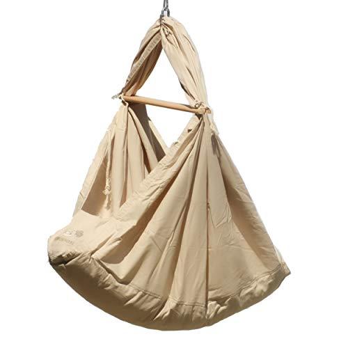 SCHMUSEWOLKE Federwiege Babyhängematte Babywiege Reisebett | Baumwolle mit Schafwollmatratze | Ab der Geburt bis 3 Jahre | bis 18 kg | 3 Sets Deckenbefestigung | Greige