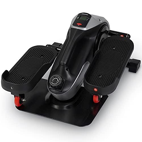 Under Desk Elliptical, SURSPORT Foot Pedal Exerciser, Mini Elliptical Machine Whisper Quiet Adjustable Smooth Magnetic Resistance with Non-Slip Pedals & Digital Monitor
