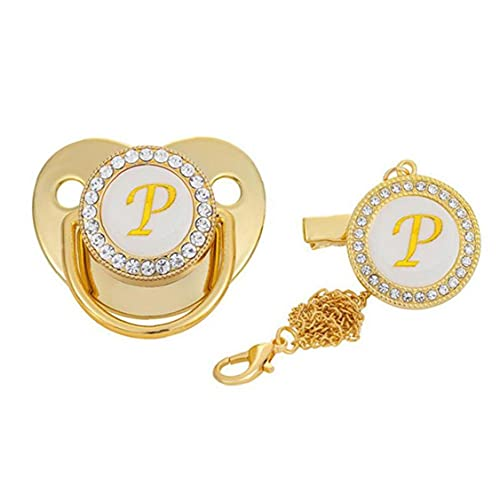 Baby Chupete de oro líquido letra de silicona P Dummy Toother con clip de cadena Diseño simétrico ortodóntico
