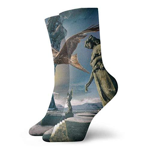 Drempad Calcetines de Vestir Unisex Gray Angel Statue Funny Polyester Crew Socks 11.8 Inch