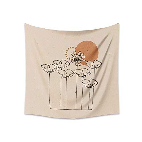 KHKJ Tapiz para Colgar en la Pared, tapices de línea de Flores de Luna para Sala de Estar, Dormitorio, Arte de Pared, Fondo, decoración del hogar, A4, 200x150cm