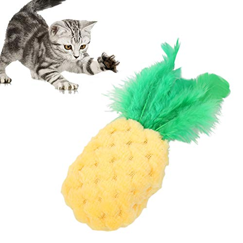 zhenleisier Pet Toys,Pet Cats Kitten Catnip Cute Pineapple Shape Bite-Resistant Molar Vocal Squeak Bite Scratch Chew Toy Teeth Cleaning Interactive Hunting Exerccise Need Toy Pineapple