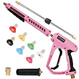 LEXRUSTI Pressure Washer Gun, Pink Pressure Gun M22 14mm Fitting with 1/4' Quick Connerctor,17 Inch Pressure Washer Wand,with Detachable Side Assist Handle,7 Nozzle Tips,4000 PSI