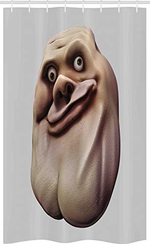 ABAKUHAUS Humor Schmaler Duschvorhang, Ungeschicktes Meme Hässliches Gesicht, Badezimmer Deko Set aus Stoff mit Haken, 120 x 180 cm, Perle & Tan