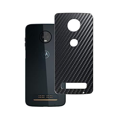 Vaxson 2 Stück Rückseite Schutzfolie, kompatibel mit Motorola Moto Z3 Play, Backcover Skin - Carbon Schwarz [nicht Panzerglas/nicht Front Displayschutzfolie]