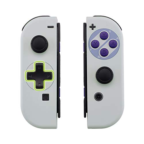 eXtremeRate Gehause fur Nintendo Switch JoyconGehause Case Hulle Schale Ersatzteile fur Nintendo Switch Joycon Controllerkompletter Satz TasteD Pad Version Classics SNES Style Keine Console Hulle
