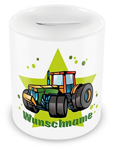 Samunshi® Kinder Spardose mit Namen und Traktor als Motiv für Kinder - Jungen und Mädchen Sparschwein weiß