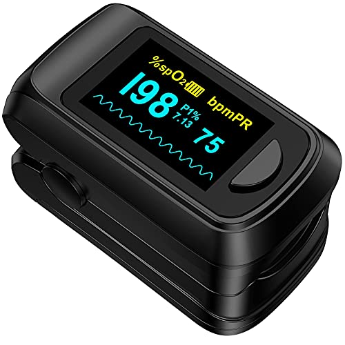 Fingertip Pulse Oximeter Blood Oxygen Saturation Monitor,Heart Rate and Fast Spo2 Reading Oxygen Meter with OLED Screen AAA Batteries