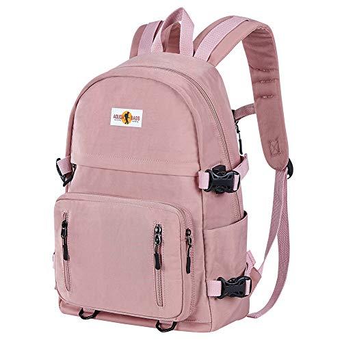Rucksack Mädchen Teenager Jungen Schulrucksack mit USB Laptop Schulranzen Leichtgewicht Schultaschen für Damen Herren, Rosa