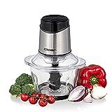 Cloer 6829 - Tritatutto universale elettrico a 6 lame in acciaio inox, per frutta, verdura, noci, carne, 400 W, funzione pulsazioni a mano, ciotola in vetro e acciaio inox