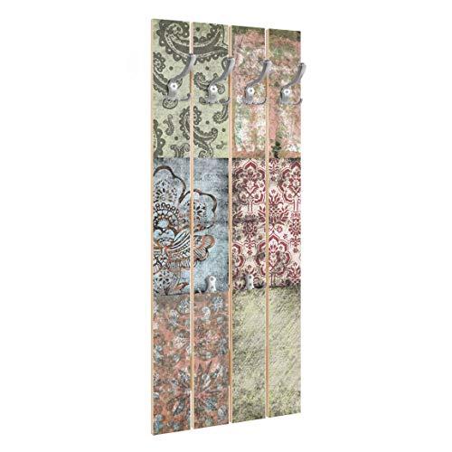 Bilderwelten Perchero de Madera Old Patterns   Ganchos cromados 100x40 cm