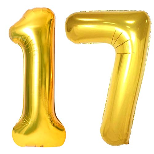 40inch Gold 17 Number Balloons Giant Jumbo Number 17 Foil Mylar Balloons for 17th Birthday Party Supplies 17 Anniversary Events Decorations
