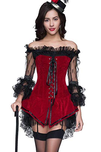 Eastery rood korset jurk moulin Baskische bustier overbruid rouge vrouwen 2 eenvoudige stijl mode slim fit lange mouwen schoudervrij cocktail party body shaper korsetten