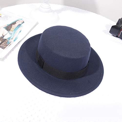 Sombrero clásico de Fieltro de Color sólido para Mujer, Sombreros de ala Ancha para Mujer, Gorra de Jazz con Parte Superior Plana, Sombrero de Cubo, Invierno, Primavera, Verano-Style 1 Blue