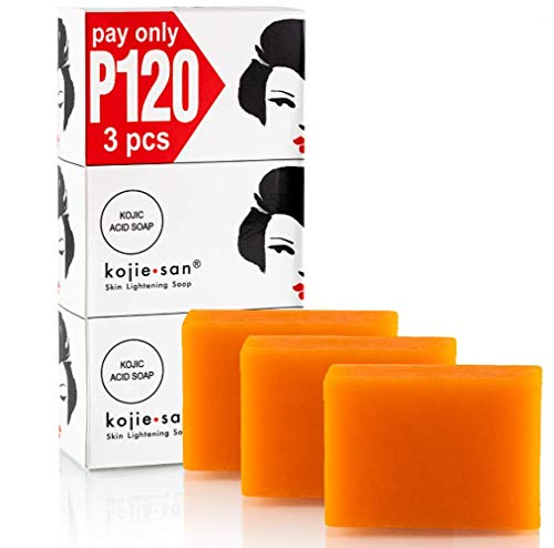 Kojie San Skin Lightening Kojic Acid Soap 3 Bars - 100g Fades Age Spots, Freckles, and Other Signs of Sun Damage and Heals Acne Blemishes and Erases R