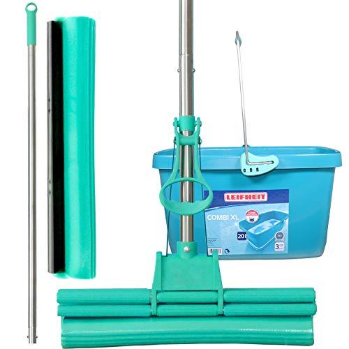 Green Mop Set 40-02 - Green Mop 40 cm + steel + reservespons + 20 liter Leifheit emmer Combi XL - Dubbele wringer mop zuigsterke dweilmop PVA vloerwisser