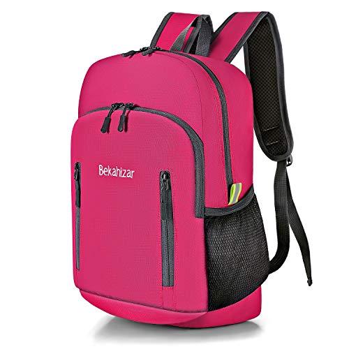 Bekahizar 20L Faltbarer Rucksack Ultra Leichter Wandern Daypack Kleiner Reiserucksack Tagesrucksack Tasche für Männer Frauen Kinder Outdoor Sports Camping Reisen Jogge Radfahren Klettern (pink)