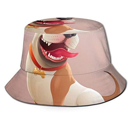 Xarchy Unisex Bucket Hat Happy Dog P Impreso Sombrero para el Sol al Aire Libre Summer Travel Outdoor Cap Black